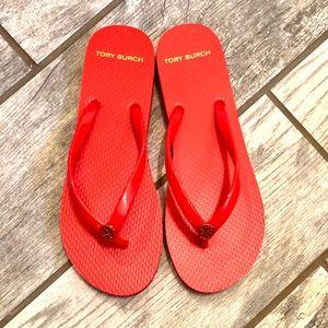 Tory Burch Coral/Red Eva Sole flip flops